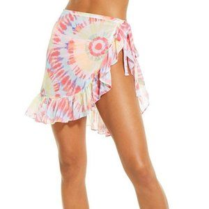 Miken Yellow Red Tie-Dye Skirt Cover Up Size S
